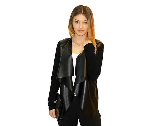 Vegan-Womens Faux Leather Open Waterfall Cardigan