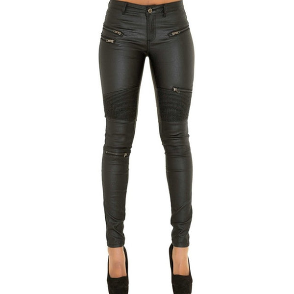 Animal Free Leather Pencil Pants With Zippers