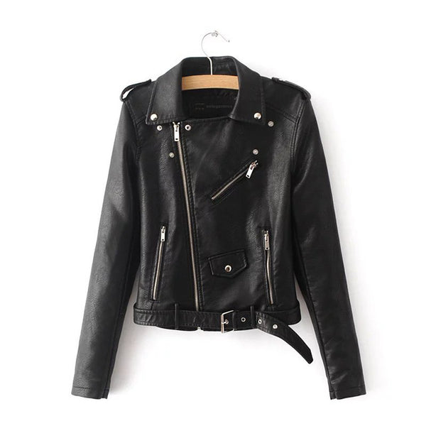Women's Vegan Black Leather Jacket