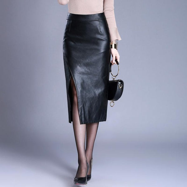 Vegan- Wholesale Price Women Spring Fall Hip Fake Leather Skirt  Casual Black Color Mid Calf Skirt Free Shipping WXH-019
