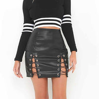 Vegan-Women Black PU Leather Skirt Fake Leather High Waist Bandage Side Lace Up Bodycon Sexy Mini Skirt Club Wear