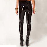 Vegan Leather Wet Look Skinny Pencil Pants