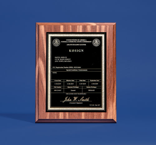 Amateur Radio License Plaque with YOUR Call Sign!