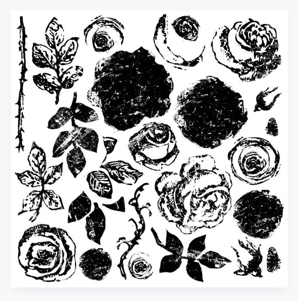 Painterly Roses 12 x 12 Decor Stamp