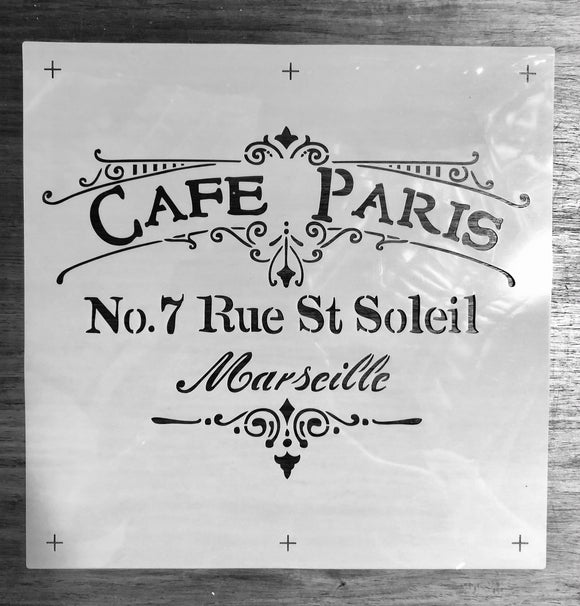 Cafe Paris Stencil 30cmx30cm