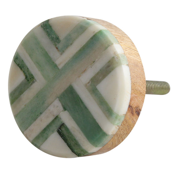 Zoe Green Bone and Wood Round Knob