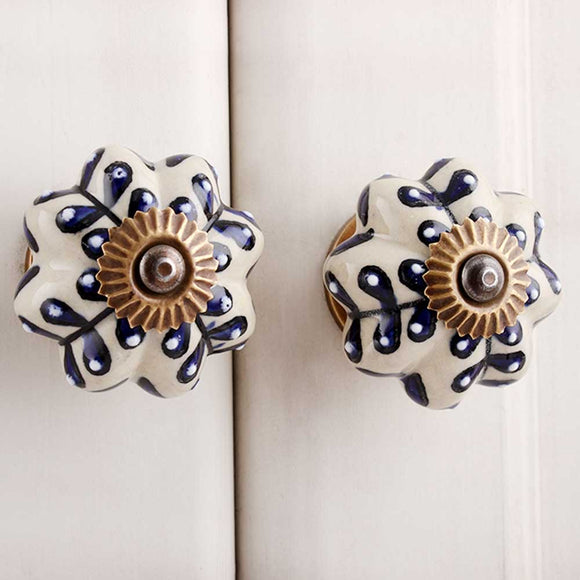 Olivia Blue flower Ceramic Handles
