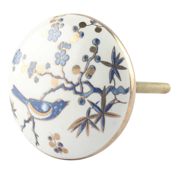 Blue bird ceramic drawer pull/knob