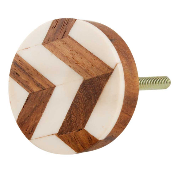 Dede Zigzag Bone and Wood Knob