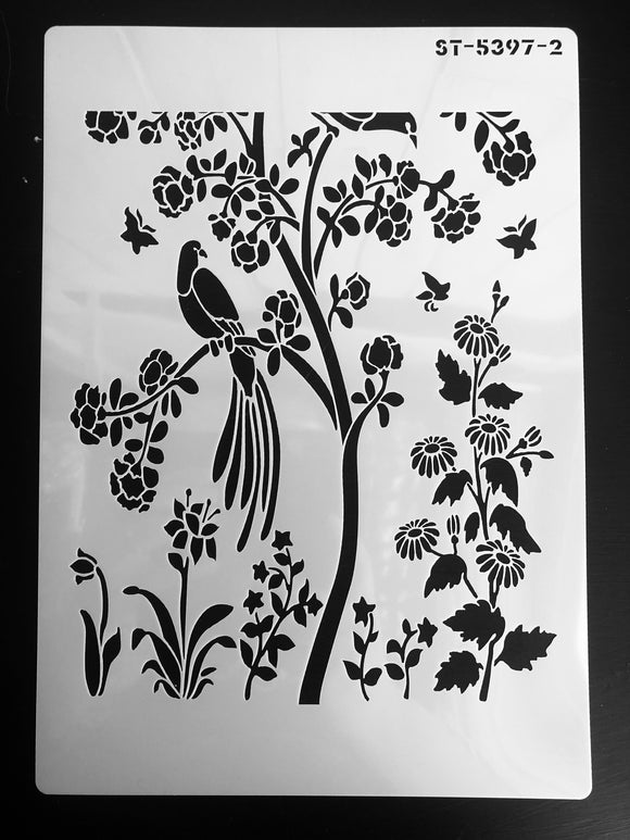 Botanical forest Stencil A4