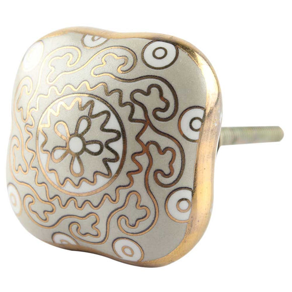 Jessie light grey and gold Ceramic Knob