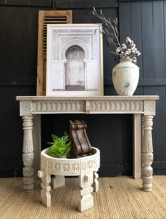 Hand Carved Teak Moroccan Console