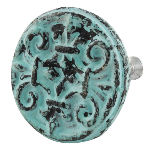 Emma Antique Aqua Iron Knob
