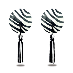 Lovetoy Reusable Zebra Round Tassel Nipple Pasties