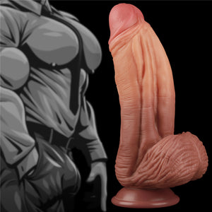 Lovetoy 10'' Dual layered Liquid Silicone Nature Cock