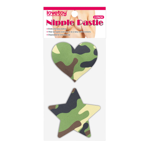 Lovetoy Camo Stars and Heart Nipple Pasties (2 Pack)