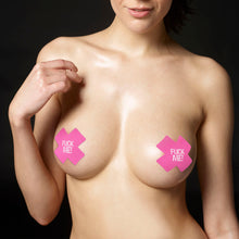 Load image into Gallery viewer, Lovetoy FUCK ME Cross Pattern Nipple Pasties (2 Pack)