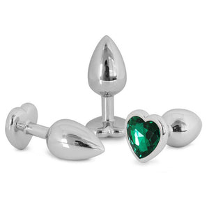 Metallic Heart Shaped Butt Plug with Diamond