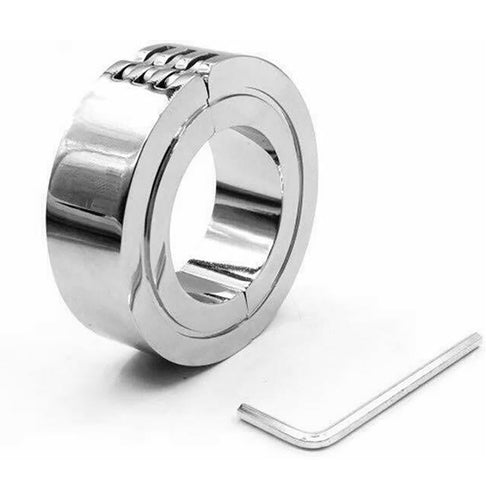 Stainless Steel Locking Hinged Balls / Penis Ring