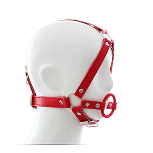 Mask face Soft Leather Head Harness Mouth Gag O-Ring