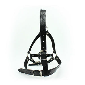 Soft Strict Leather Head Harness with Ball Gag