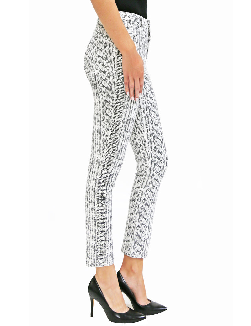 Fay Mid Rise Snake Print Side Ruched Ankle Jeans