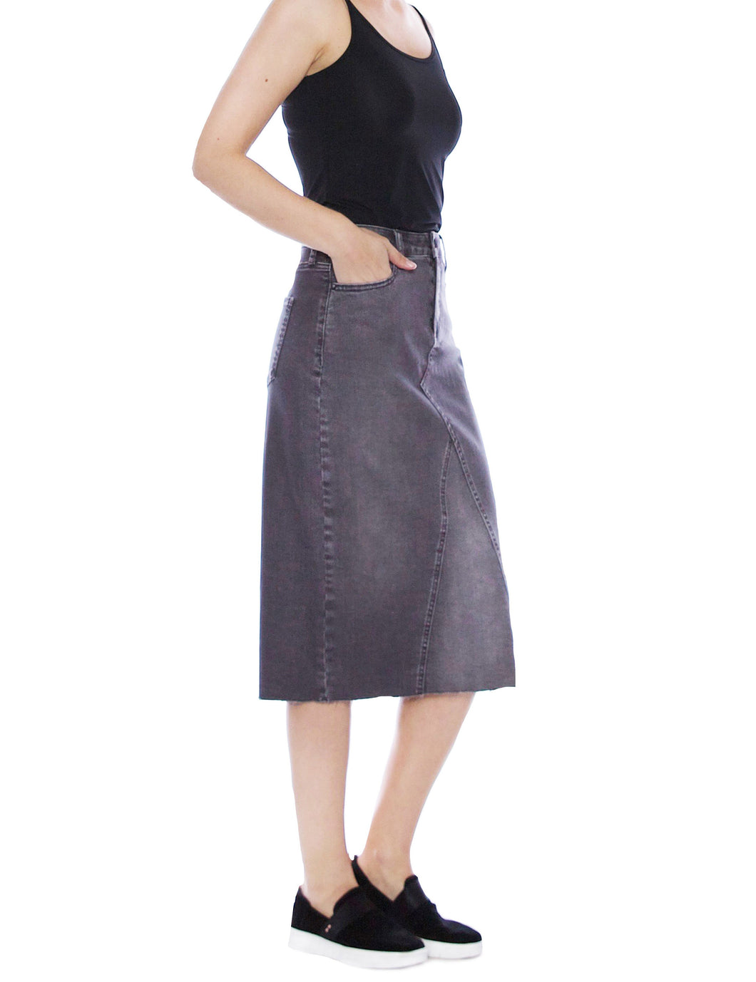 Sally Midi Pieced Denim Skirt