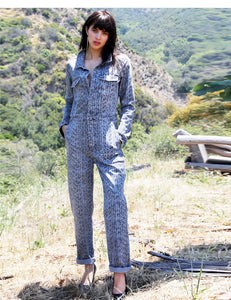 Snake Print Cotton Denim Flight Suit