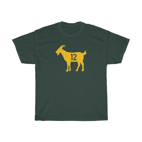 Goat 12 Aaron Rodgers Green Bay Packers T Shirt Unisex Heavy Cotton Tee
