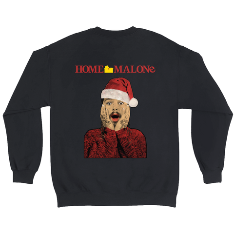 """Home Malone"" Christmas Fun Sweatshirt - Post Malone Christmas Ugly Crewneck Sweatshirt, Post Malone Sweater, Post Malone Tee Shirt"