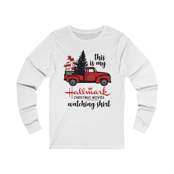 This Is My Hallmark Christmas Movie Watching Shirt Ugly Christmas Unisex Jersey White Long Sleeve Tee