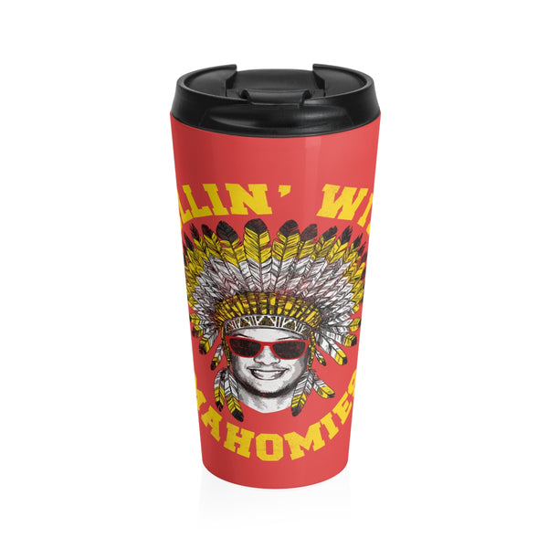 Rollin' With Mahomie Pat Mahomes Stainless Steel Travel Mug