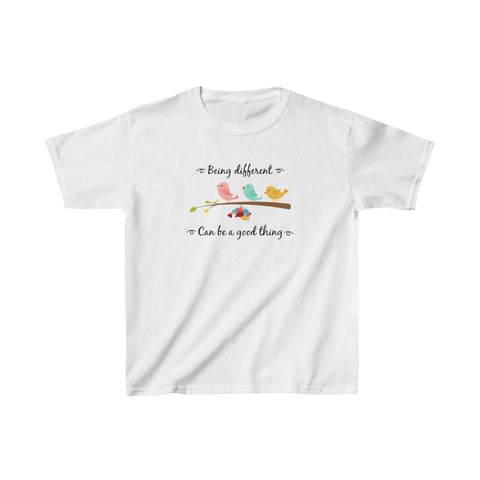 Austism Bird Funny Shirt - Be Different Can Be A Good Thing Shirt - Autism Awareness Support T-Shirt - Autism Shirt Kids Heavy Cotton™ Tee