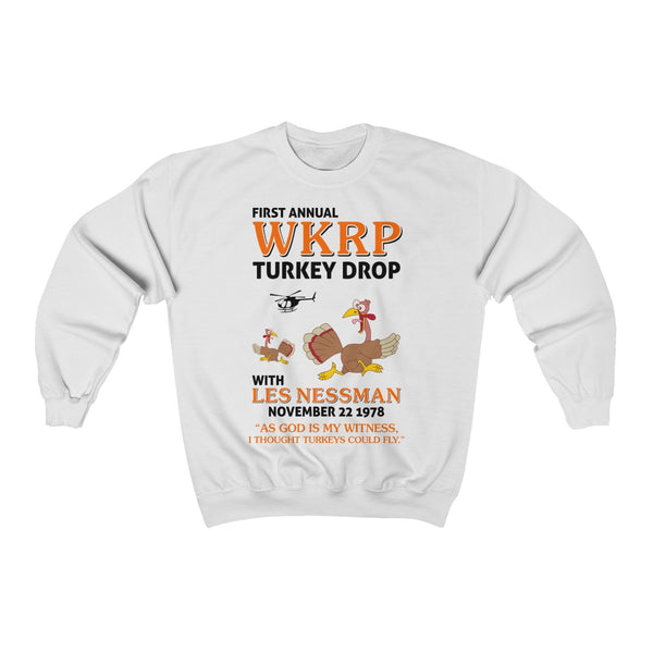 First Annual WKRP Turkey Drop As God Is My Witness Thanksgiving Unisex Heavy Blend™ Crewneck Sweatshirt
