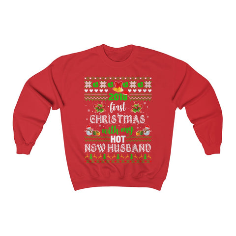 2018 First Christmas With My Hot New Husband Sweatshirt Unisex Heavy Blend™ Crewneck Sweater