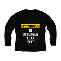 Pittsburgh Is Stronger Than Hate T Shirt Women's Long Sleeve Performance V-neck Tee
