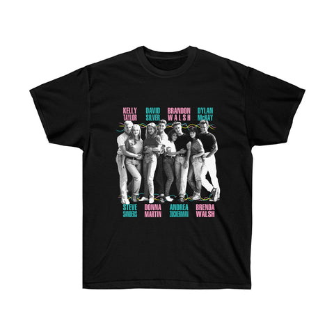 90210 Beverly Hills Characters And Logo Shirt Unisex Popular TV Show Kelly Dylan Brenda Brandon Donna Black