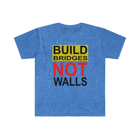 Build Bridge Not Walls Anti Trump Men's Fitted Short Sleeve Tee