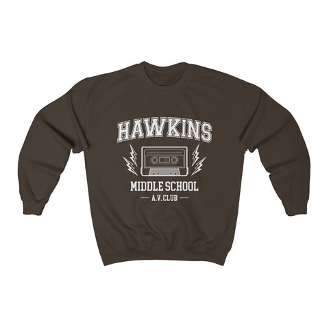 Hawkins Middle School AV Club Crewneck Sweatshirt - Stranger Sweater Crewneck Sweater - Roane County School District - Indiana Tee