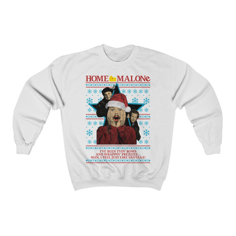 Post Malone Home Malone Ugly Christmas Sweater Unisex Heavy Blend™ Crewneck Sweatshirt