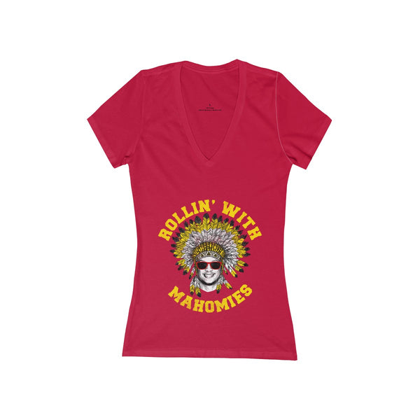 Rollin' With Mahomies Pat Mahomes Texas NFL Women's Jersey Short Sleeve Deep V-Neck Tee