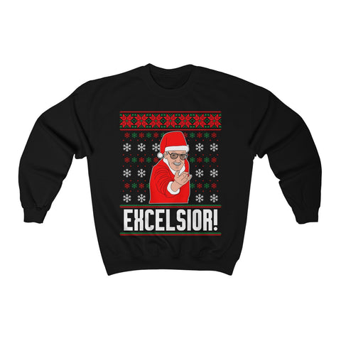 Stan Lee Excelsior Christmas Ugly Sweatshirt - Comics Superheroes Stan Lee Superhero Sweater - RIP Stan Lee - Gift Christmas Marvel Family