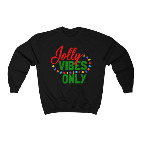 Jolly Vibes Only Christmas Lights Unisex Heavy Blend™ Crewneck Sweatshirt