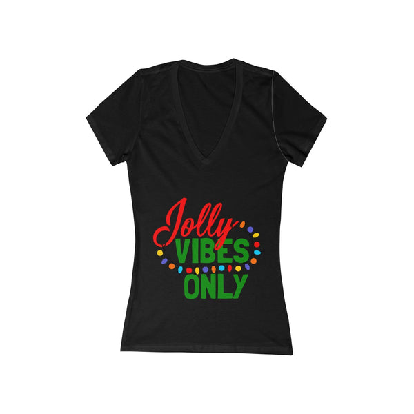 Jolly Vibes Only Christmas Lights Women's Jersey Short Sleeve Deep V-Neck Tee