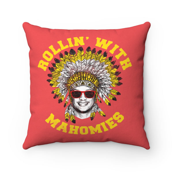 Rollin' With Mahomies Patrick Mahomes Spun Polyester Square Pillow