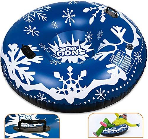 Inflatable sledge, 47Inch Inflatable Snow Tube for Sledging Heavy Duty