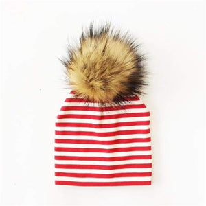 Babies bobble hat with furry bobble choice of colours and sizes - J and p hats Babies bobble hat with furry bobble choice of colours and sizes