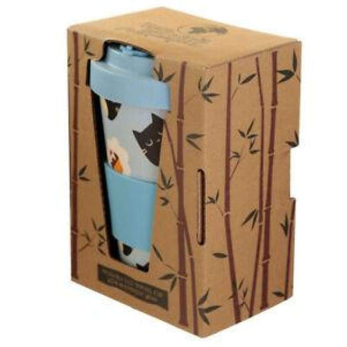 ECO-FRIENDLY Bamboo Cat Pattern Travel Mugs boxed - J and p hats ECO-FRIENDLY Bamboo Cat Pattern Travel Mugs boxed