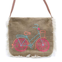 Load image into Gallery viewer, Jute Bag Fab Fringe Bag - Bicycle Embroidery - J and p hats Jute Bag Fab Fringe Bag - Bicycle Embroidery
