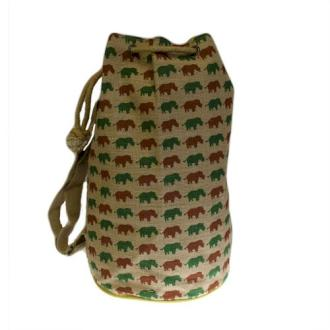 Jute Duffle Bag - Rhino Pattern - J and p hats Jute Duffle Bag - Rhino Pattern